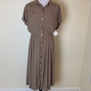 """NWT Halogen """"Stone Fossil"""" Buttoned Dress size S"""